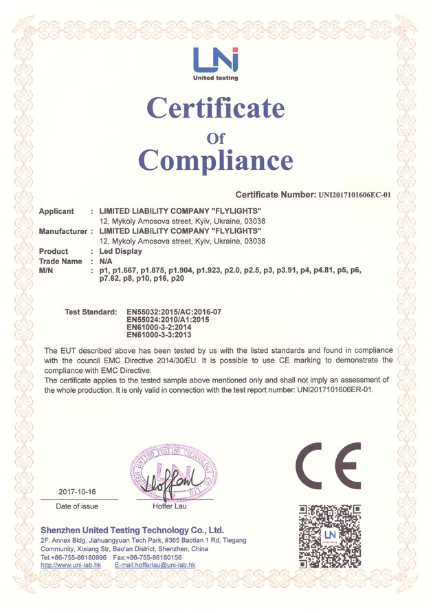 Photo Certificate of Compliance Fly-Factory